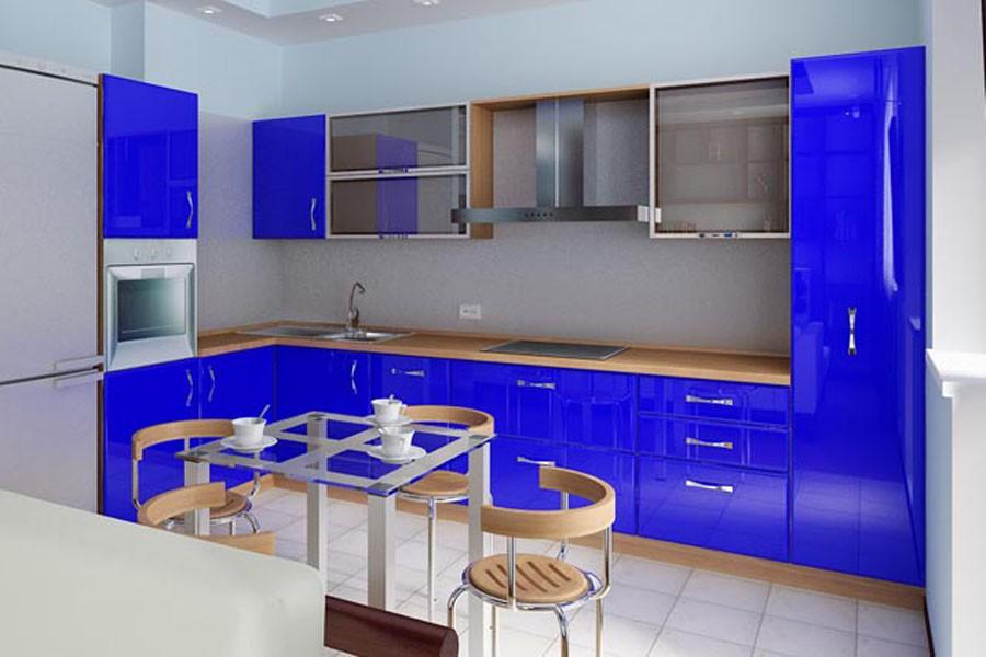 фото кухня синего цвета