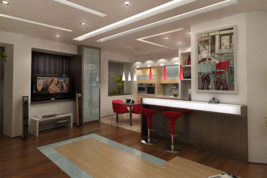 Дизайн гостиной 18 кв.м совмещенной с кухней