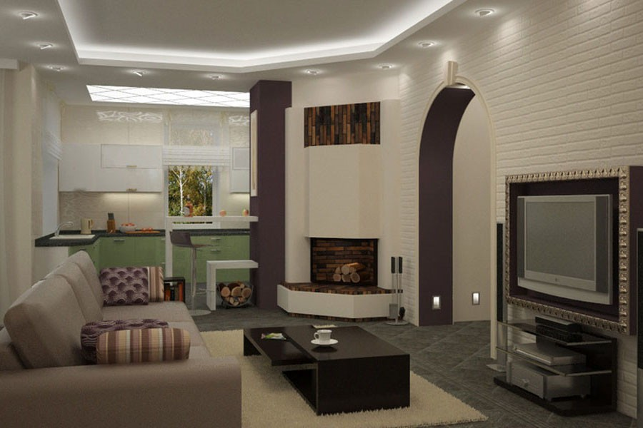 Дизайн квартиры кухня совмещенная с залом