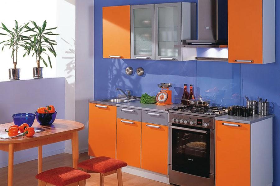 Дизайн оранжевой кухни обои