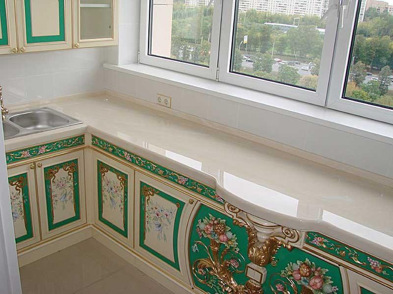 Дизайн кухни из балкона фото