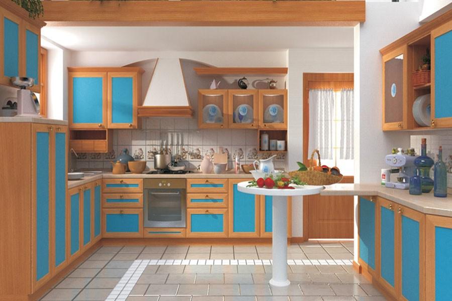 Синяя кухня идеально подойдет для