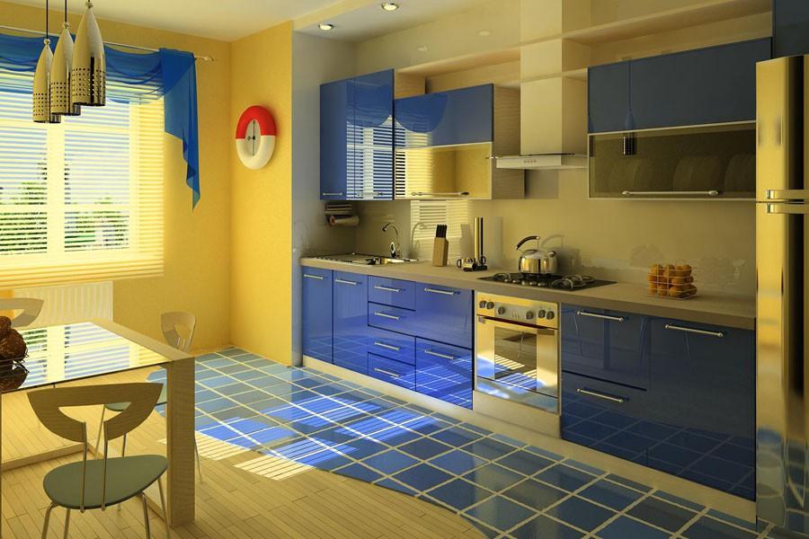 Синия кухня в интерьере фото